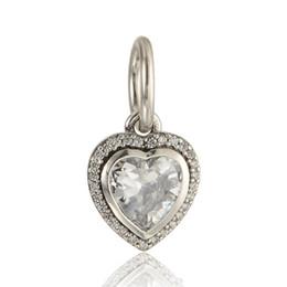 2019 pandora cuentas corazón conjunto Zircon beads heart set colgantes encantos original S925 plata esterlina encaja para pandora estilo brazalete y collar envío gratis LW602