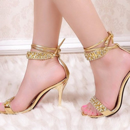 Wholesale Sexy Silver Prom Heels - Sexy Silver High Heel Summer Shoes Fashion Lady Sandals Rhinestone Party Prom Shoes wedding shoes for Bridal Bridesmaid Shoes