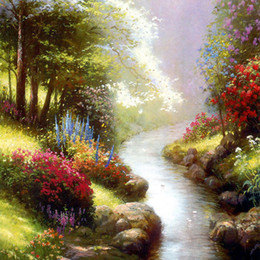 Wholesale Oil Canvas Reproduction - Thomas Kinkade Landscape Oil Painting Reproduction High Quality Giclee Print on Canvas Modern Home Art Decor TK140