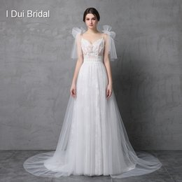 Wholesale Legging Sexy Models - 2017 Real Photo Wedding Dress Spaghetti Bow Tie Strap A line Tulle Exquisite Lace Romantic Split Leg