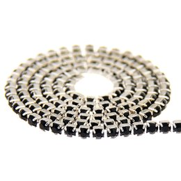 Wholesale Chaton Strass - Jet Glass Rhinestones Silver Base Chains Copper Cup Chain Strass Pointed Back Sew On Crystal Chaton DIY Wedding Dress Decoration