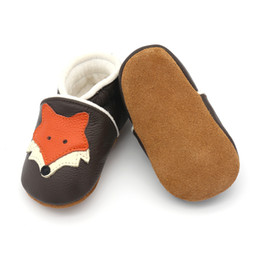 Wholesale Fleece Baby Shoes - Everweekend Sweet Baby Girls Boys Pu Leather Shoes Cartoon Fox Shoes Brown Color Fleece Lining Autumn Winter Shoes