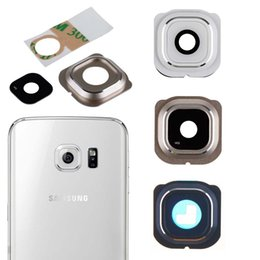 Wholesale Glasses W Camera - Back Camera Frame Holder Glass Lens Cover Ring Replacement For Samsung Galaxy S6 Edge G925 SM-G925 W  Sticker