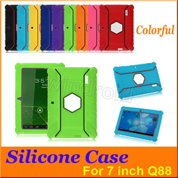 Wholesale Cheapest Kids Tablets - Cheapest Q88 Kids Child Soft Silicone Rubber Gel Case Cover robot Drop-resistance For 7 Inch Q88 Q8 A33 Android Tablet pc MID colorful 100pc