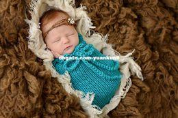 Wholesale Newborn Baby Sleeping Costume - Newborn Boy Girls Solid Color Baby Cocoon Sleeping bag Baby Photography Prop Handmade Crochet Knitted Costume Baby Shower Gift animal backpa