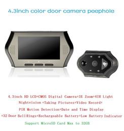 Wholesale Doorbell Rings - New wireless door bell 4.3inch LCD 0.3Megapixels camera IR night vision PIR Motion Detection 32 Rings 3X Zoom doorbell Max 32G