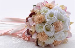 Wholesale Cheap Christmas Party Decorations - Cheap Bridal Wedding Bouquet 2016 High Quality In Stock Pink ChampagneWedding Decoration Artificial Bridesmaid Flowers For Beach Party WF053