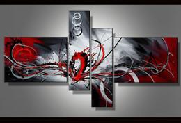 pittura nera rossa fatta a mano Sconti Contemporanea astratta pittura ad olio su tela Nero Bianco Rosso opere d'arte moderna decorazione a mano home office hotel wall art decor Regalo arte abs48
