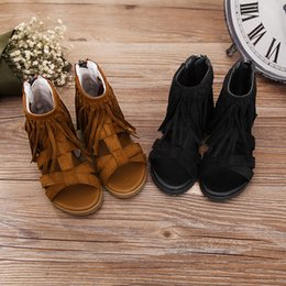 Wholesale Cute Summer Heels - New Fashion summer tassel sandals girls leisure confortable Flat shoes shoes for children Sweet and cute style