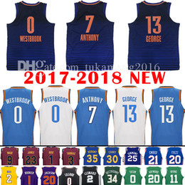Wholesale Quick Drying - 2017-18 New 7 Carmelo Anthony 13 Paul George Jersey 0 Russell Westbrook Men's 2018 Carmelo Anthony George Deep blue Jerseys