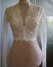 Wholesale Alencon Lace Bolero - Cheap Bridal Wraps Modest Alencon Lace Crystals V Neck Sheath Wedding Bridal Bolero For Wedding Dresses Long Sleeve Lace Applique Jacket