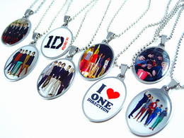 Wholesale 1d Direction - Brand New 20 pieces one direction 1D stainless steel pendant necklaces Kids Children's party favor gift Jewelry wholesale mixed lots