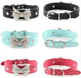 Wholesale rhinestone dog collar letters - Dog Collar Bling Personalized Pet Dog Collars with Buckle Puppy Cat Necklace Rhinestone Letters Charms G1015