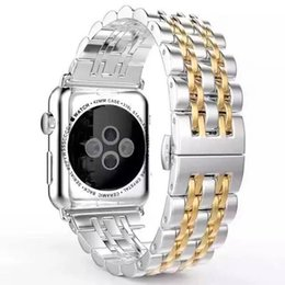 Enlaces de bandas de acero inoxidable en venta-Para Samsung Gear S3 banda de acero inoxidable 2017 Nueva correa de pulsera de metal de reemplazo de metal para Apple Watch 7Beads Link Connect