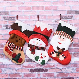 Wholesale Old Christmas Stockings - Gift Bags Decorative Non - Woven Fabrics Christmas Stockings Old Deer Christmas Trees Cloth Pendants Wholesale
