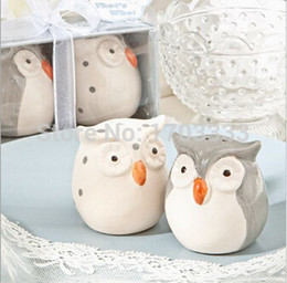 Wholesale Ceramic Owls Wholesale - 100set=200pcs Festive Supplies Owl Ceramic Salt and Pepper Shakers Wedding Gifts Souvenirs Party Favours #SH-83