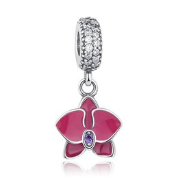 Wholesale Orchid Pendant - Original 925 Sterling Silver Radiant Orchid Floral Dangle Charms with Clear & Purple CZ Pendant Beads for DIY Beaded Charm Bracelets S332