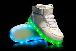 Wholesale High Tops Children - 2016 Fashion kids LED Lights USB Charging Colorful high top Shoes Lovers Casual Shoes for Adults and kids Led luminous Shoes for children