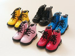 Wholesale Winter Rubber Boot Brands - 2017 New Winter Children Shoes PU Leather Waterproof Martin Boots Kids Snow Boots Brand Girls Boys Rubber Boots Fashion Sneakers