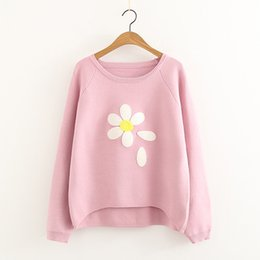 Wholesale Red Flower Knitted - Mori Girl Autumn Knitted Sweater O Neck Long Sleeve Flower Embroidery Loose Preppy Style Pink Red Gray and Black colors
