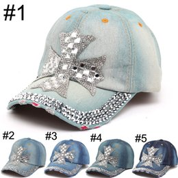 Wholesale Wholesale Designers Baseball Caps - 2016 Summer New Fashion Designer Cross Rhinestone Hats Women Denim Sun Hats Super Quality Outdoor Sport Hat Baseball Hats Caps for Lady