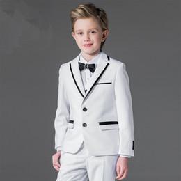 Wholesale Ceremony Boy - Wholesale- Good quality boy formal ceremony party ball dinner blank white coat jacket vest pants suit 5pcs(coat+vest+pants+shirt+tie)