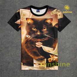 Wholesale Diamonds Shirt Womens - 2016 new tshirt 3d print diamond rich kitty cute new style black color mens womens unisex T-shirt 1991inc unisex sweatshirt free shipping