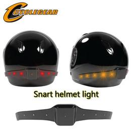 Wholesale Light Full Face Helmet - chargable Wireless Motorcycle Smart helmet light Helmet LED Safety Light With Running Lights Brake Lights Turn Signal Indicators