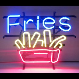 """Wholesale Fried Deep - French Fries Neon Sign Deep-fried Potatoes Yam Strips Custom Handmade Real Glass Tube Store Advertising Display Neon Signs 19""""x15"""""""