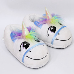 Wholesale Rainbows Flip Flops - Plush Rainbow Unicorn Slippers Adult Indoor Furry Fur Cute Winter Warm Flip Flop Shoes Soft Cosplay Slipper 2pcs pair 50 Pairs OOA3149