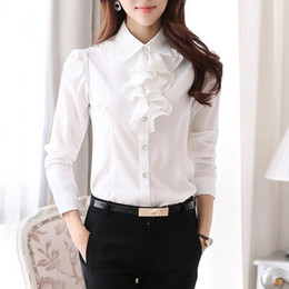 Wholesale Office Wear Tops Blouses - Women Ruffle Blouse 2016 Fashion White Black Lapel Neck Puff Sleeve Tops OL Formal Office Ladies Work Wear Vintage Plus size Chiffon Shirts