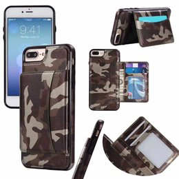 Wholesale Wholesale Camouflage Iphone Cover - For iPhone 5S 6 6S 7 Plus Fitted Case Wallet Case Card Pocket Wallet camouflage Case Leather Back Cover with ID Credit Card Slot Holder