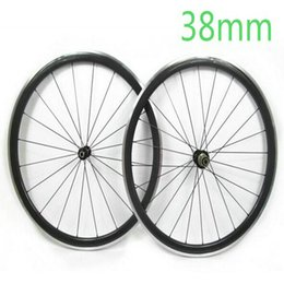 Wholesale 38mm Carbon Clincher Wheels - AWST Factory Price 700C 38mm Clincher 23mm Width Carbon Road Bike Wheels Alloy Brake Surface Wheelset Novaetc Powerway Hubs Free shipping