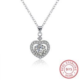 Wholesale Solid Silver Sterling Heart Necklace - Solid 925 Sterling Silver Dangle Pendant Necklace Romantic Heart with Glitter CZ Diamond For Woman Wedding Engagement Jewelry N106