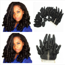 Wholesale Black Aunty - 100 Unprocessed Virgin Malaysian Aunty Funmi 3Bundles Human Hair Weaves With 1Pc Romance Curls 4x4 Lace Closure Middle Part Natural Black