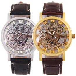 Wholesale Korean Retro Dress - Korean Fashion Dress Watch Man Creative Luxury Hollow Wrist Watch Casual Non Mechanical Retro Business Leather Belt Quartz Watch for Mens