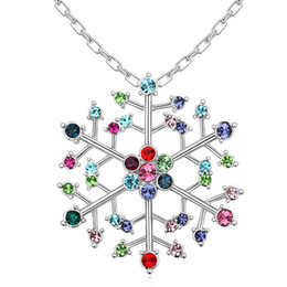 Wholesale Gold Crystal Snowflake Charm - Austrian Crystal Snowflake Pendant Necklace Designer Jewelry Branded Design 18K White Gold Plated Fashion Necklaces Women 14305