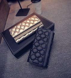 Wholesale Hand Phone Holders - Factory wholesale brand handbag leather wallet cover double personality hand fashion women classic Argyle rivet Wallet Purse embroidered lin
