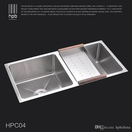 Wholesale Undermount Stainless Kitchen Sinks - Han Pai 304 Stainless Steel Double Bowel Thicken Square Brushed Artesanato Kitchen Sink Faucet Fregadero HPC04