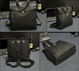нейлоновая кожаный портфель Скидка 2016 мода старинные мужские холст + PU кожаный рюкзак сумки посыльного Briefcase13 дюймов ноутбук сумка