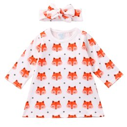 Wholesale Fashion Cute Dresses - Fashion Baby Girl Dress Newborn Baby Girls Pajamas Cotton Fox Dress Headband Outfit Cute Sets Clothes