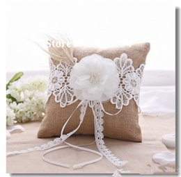 Wholesale Burlap Products - Free Shipping Popular Lace Flower Feather Decor Burlap Hessian Wedding Ring Pillow burlap Bridal Decoration Products Supplies