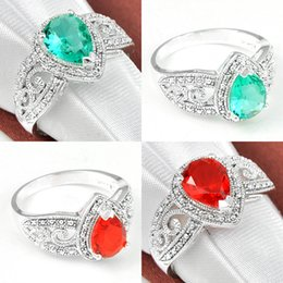Wholesale Prasiolite Sterling Silver Rings - Holiday Gift Antique Red Quartz Green Amethyst Prasiolite Crystal 925 Sterling Silver Plated Rings Russia Australia USA Wedding Rings