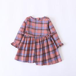 Wholesale Korean Christmas Dress - Everweekend Girls Bow Plaid Ruffles Dress Cute Baby Candy Color Clothes Princess Korean Fashion Autumn Cotton Clothing