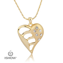 Wholesale Filigree Engagement - Filigree White Crystal heart shaped pendant necklaces 18K gold plated Fashion women jewelry 45CM Length opcorn chain