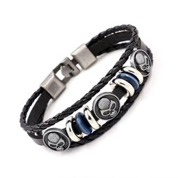 Wholesale gothic mens stainless steel bracelets - Fashion Mens Genuine Leather Bracelets Punk Rock Style Alloy Skull Charm Bracelets Multilayer Beads Gothic Wrist Cuff Bangle Halloween GiftS