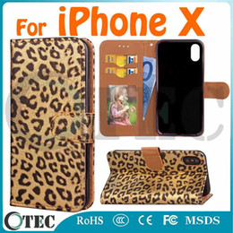 Wholesale Holder For Picture - For iPhone X Leather Case Leopard Print Wallet With Stand Card Slot Photo Picture Storage TPU Inside Holder Lanyard Earpiece Hole