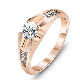 Wholesale Diamond Rings Prices For Women - Fashion Rose Gold Rings For Women Alloy Diamonds Jewelry Ring Crystal Wedding Rings Top Quality 10pcs lot Hot Factory Price