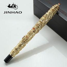 Jinhao Dragon King Vintage Roller Ball Pen Green Jewelry Metal Embossing Golden