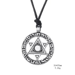 Wholesale Vintage Star David Pendant - Myshape Wiccan Jewelry star of david necklace with round pendant silver vintage jewelry cheap collier Necklaces Gift for Man & Woman